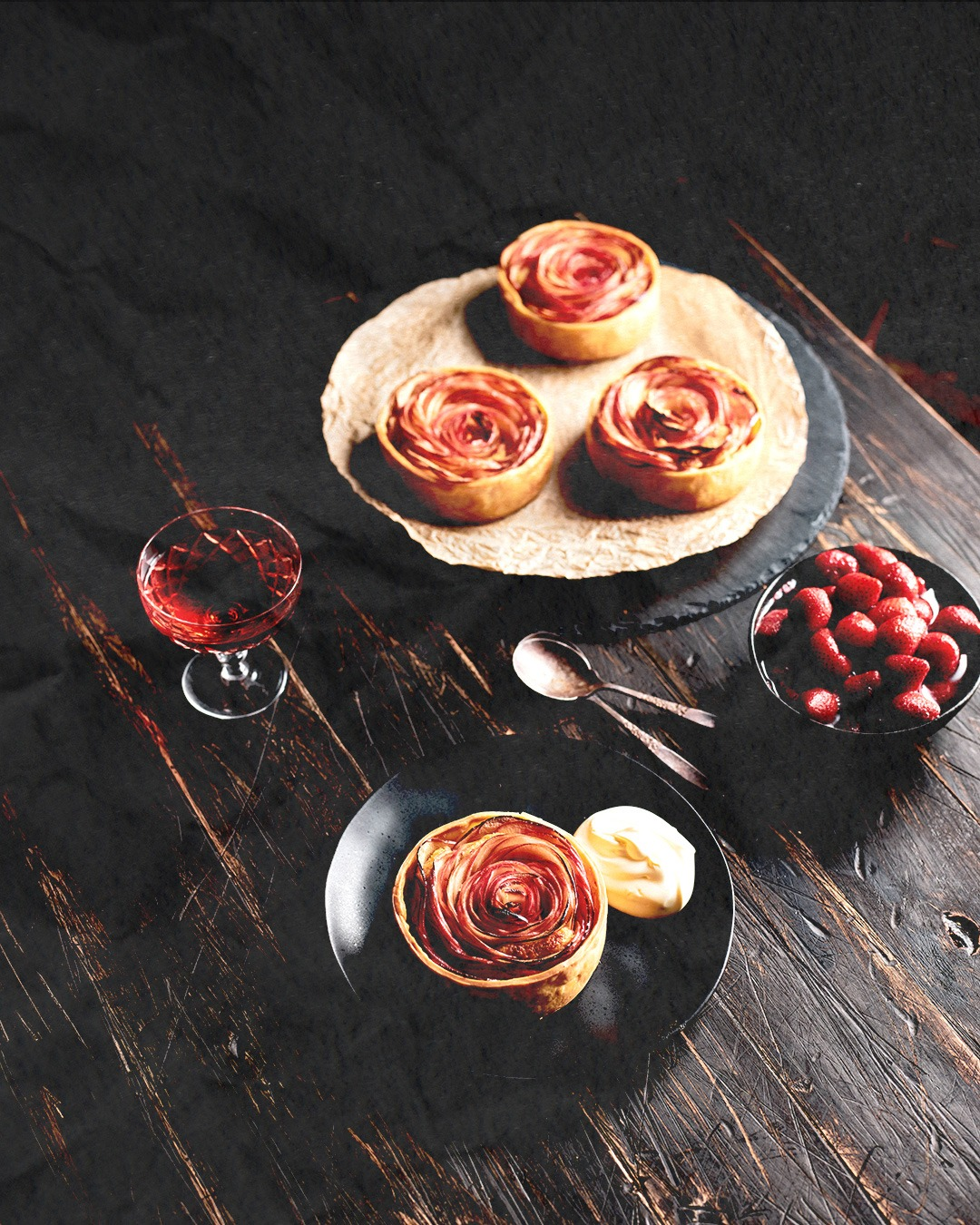 AUTUMN EDIT Apple Rose Tarts with Marinated Strawberries and Cinnamon Cream