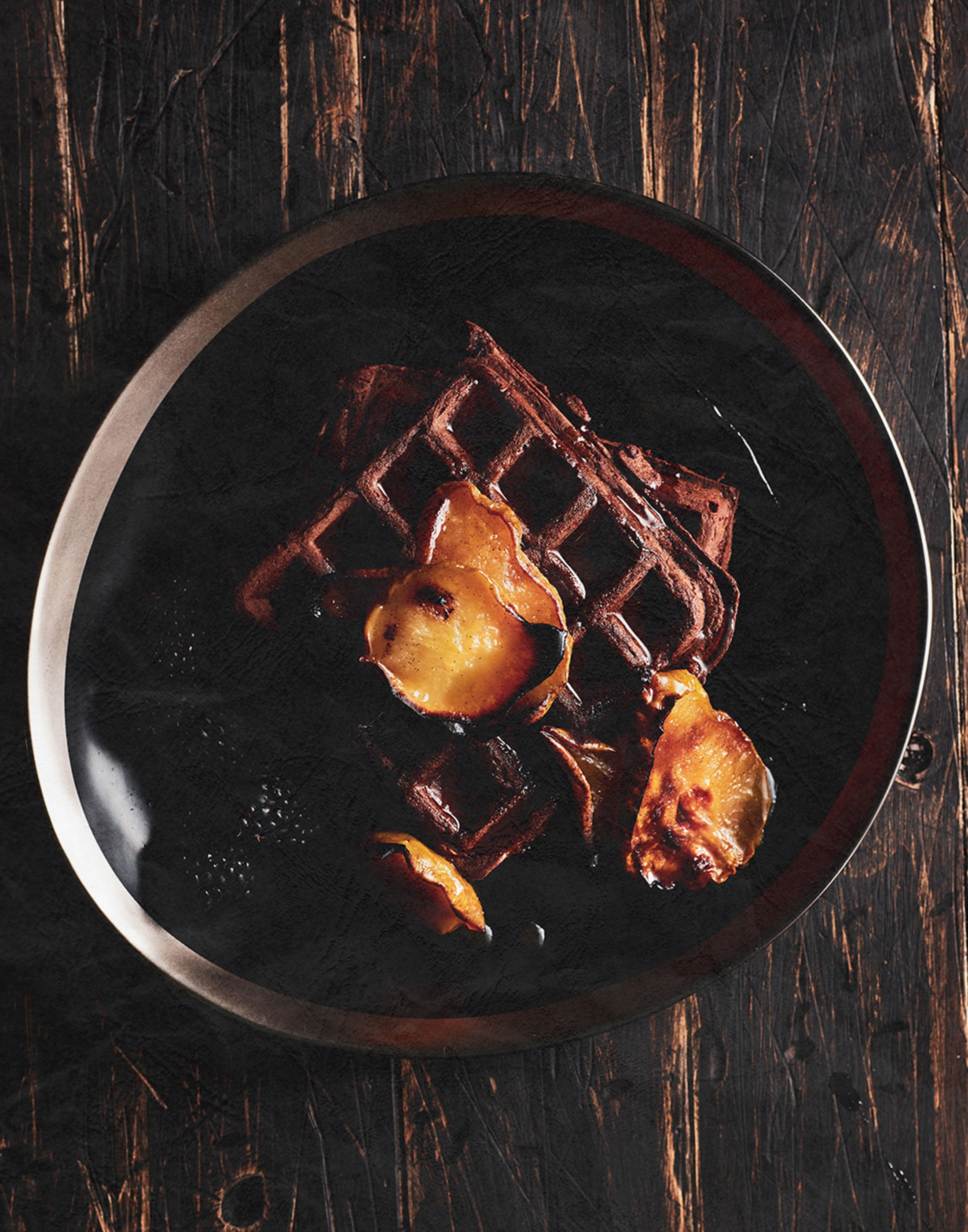 AUTUMN EDIT Chocolate Waffles with Maple Glazed Pears