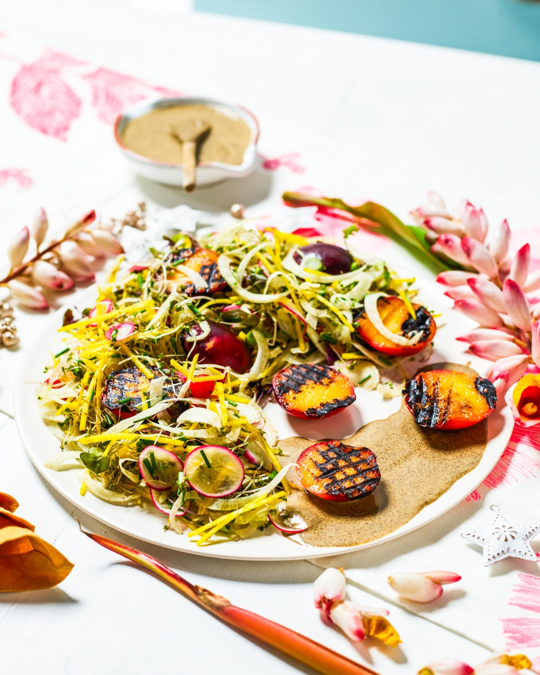 Charred Nectarine, Fennel, Radish and Baby Sprout Salad